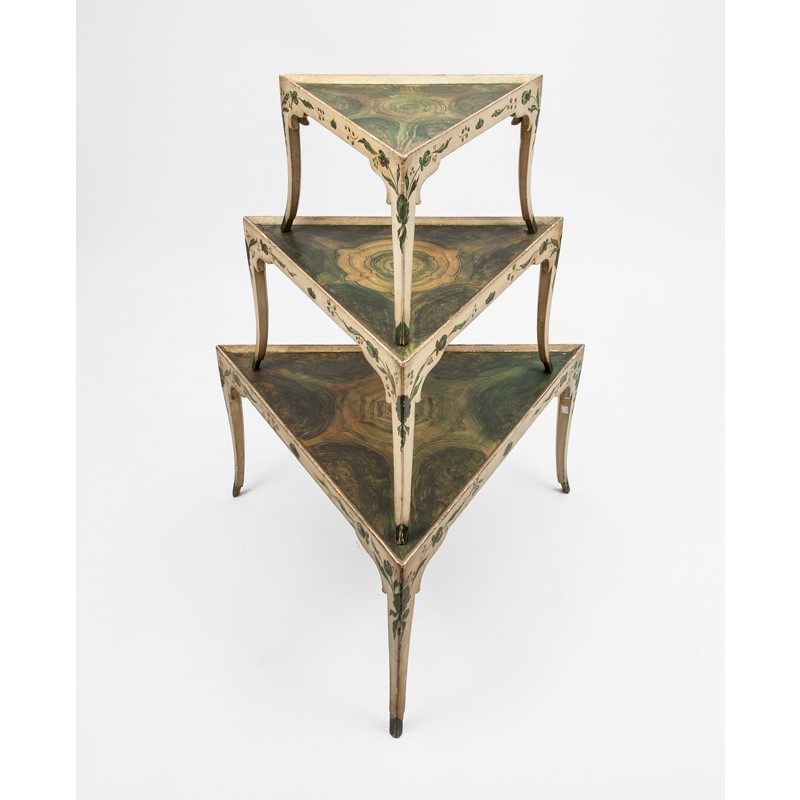 Set of Three Painted and Faux Marble Triangular Stackable Tables, Continental, 20th century
