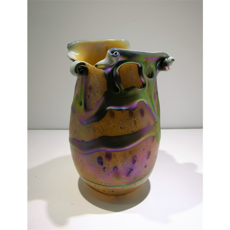 Sunset Lava Cypriot Vase Split Lip by Charles Lotton