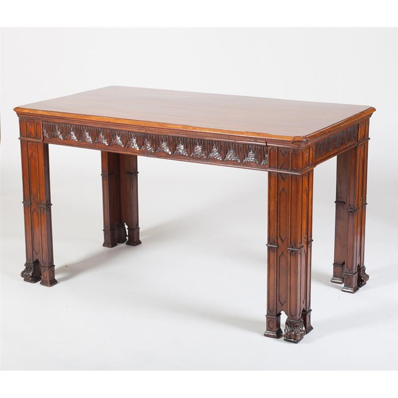 GOTHIC REVIVAL CARVED MAHOGANY LIBRARY TABLE, English, last quarter of 19th century