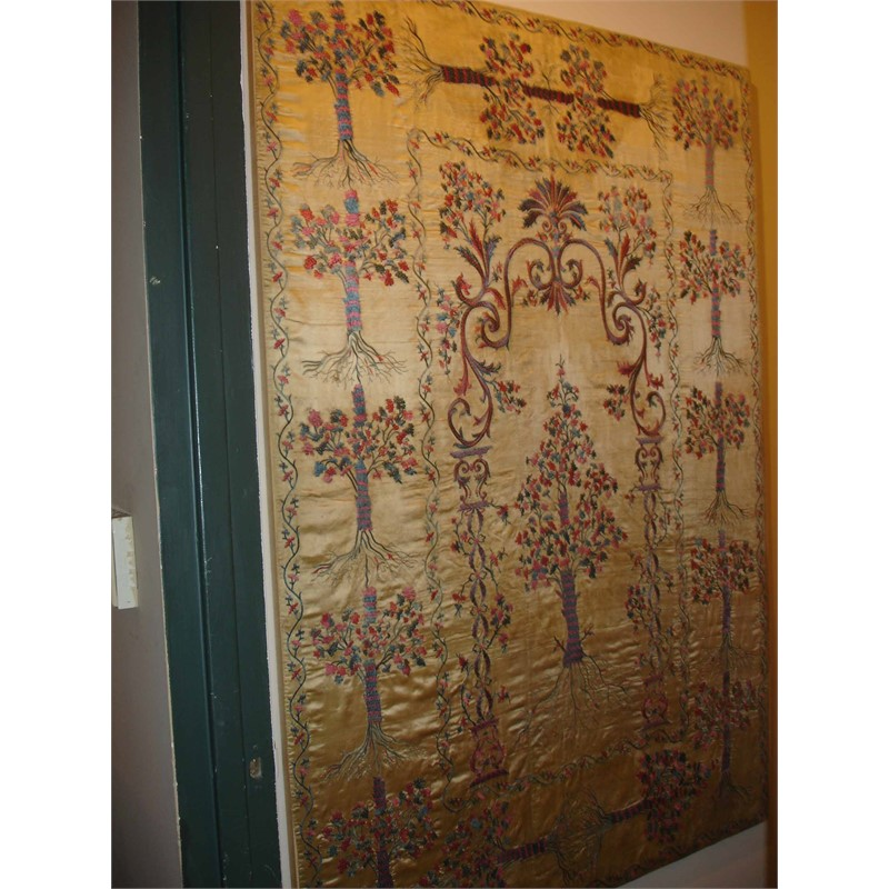 YELLOW SILK EMBROIDERY, late 18th, early 19th century