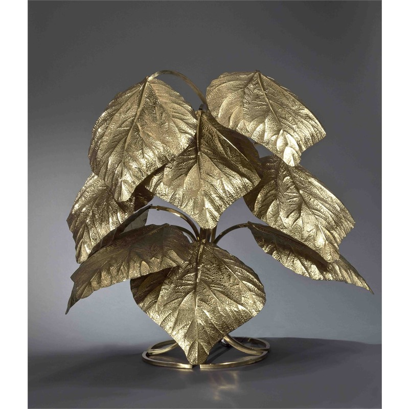 TOMMASO BARBI BRASS FLOOR LAMP WITH NINE LEAVES, Italian, 20th century