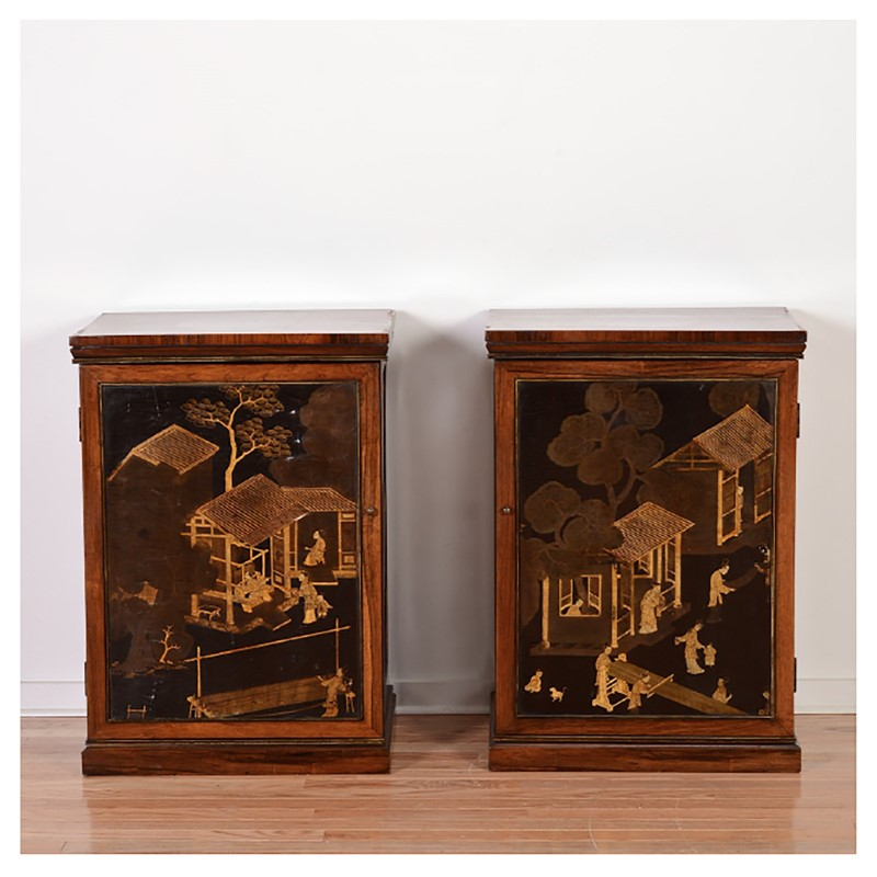 PAIR OF REGENCY LACQUER INSET ROSEWOOD CABINETS, English/Chinese, circa 1820