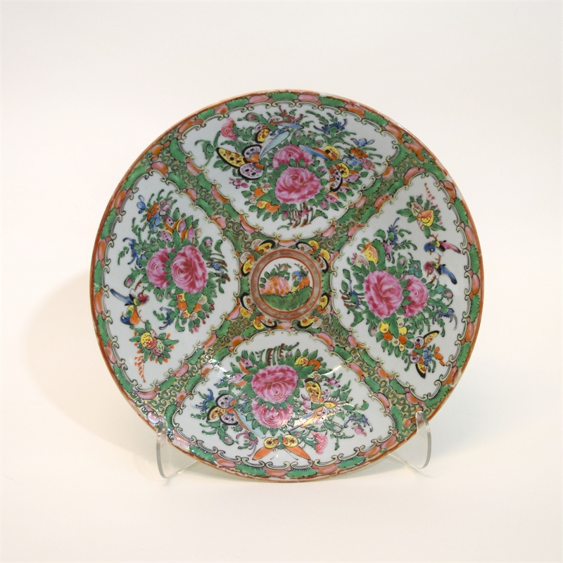 ROSE MEDALLION DISH WITH BUTTERFLIES AND FLOWERS, Chinese, 19th century
