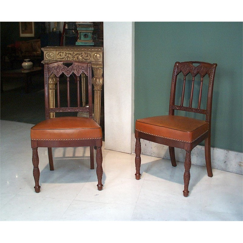 SET OF FIVE MAHOGANY CHAIRS, French, circa 1825