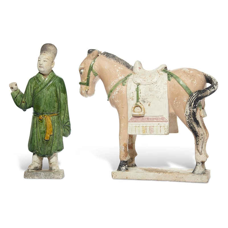 GLAZED POTTERY OF GROOM AND A HORSE, Ming Dynasty (1368-1644)