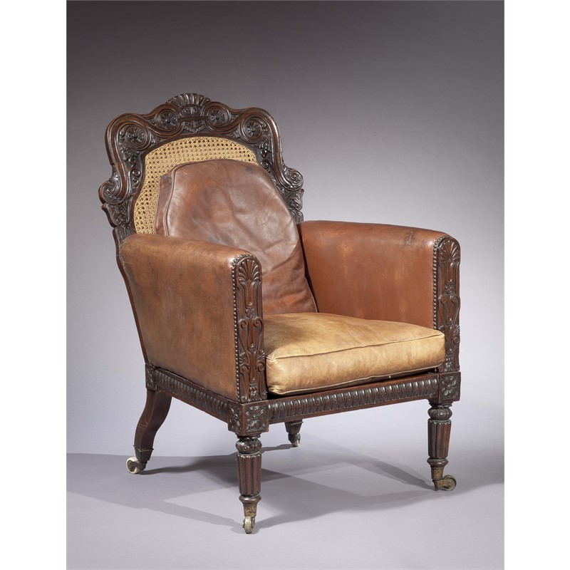 ANGLO-INDIAN ROSEWOOD, CANED, LEATHER-UPHOLSTERED ARMCHAIR, Anglo-Indian, mid 19th century