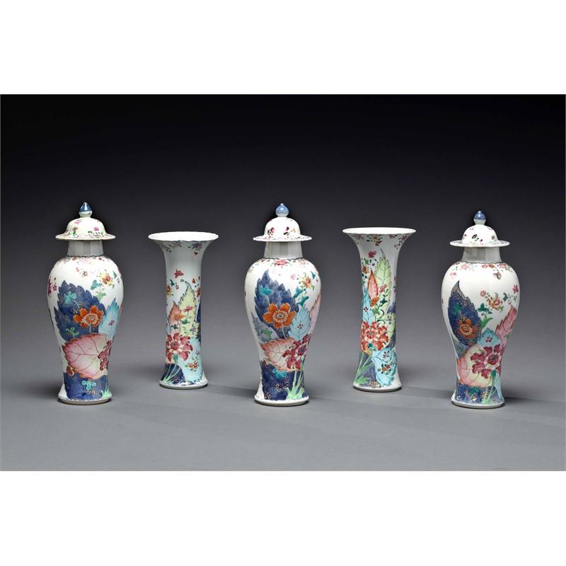 TOBACCO LEAF FIVE PIECE GARNITURE, Chinese, Qianlong Period (1736-1795)