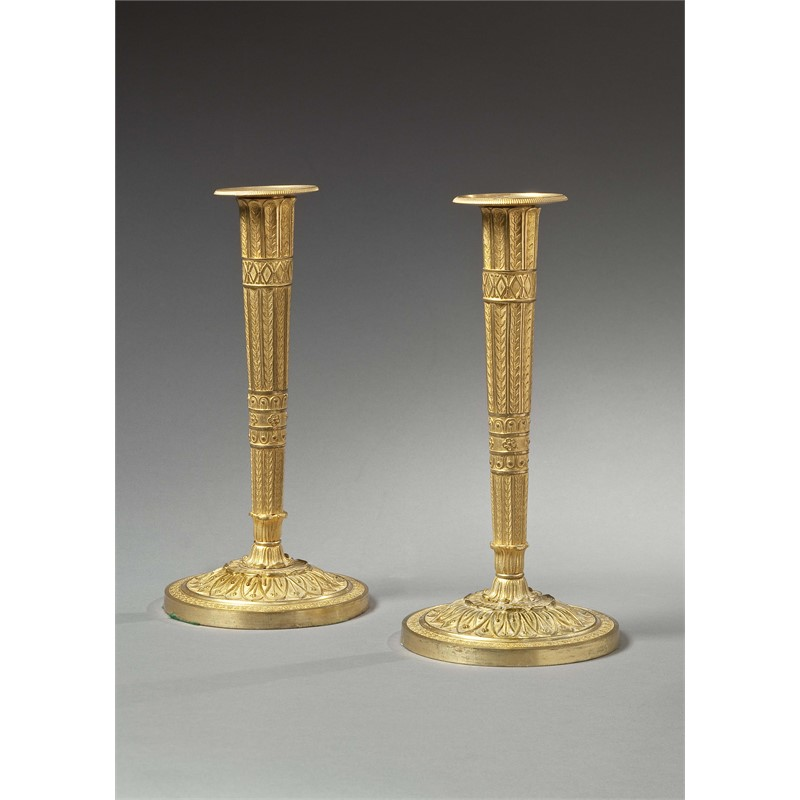 PAIR OF FRENCH GILT-BRONZE CANDLESTICKS, French, circa 1805