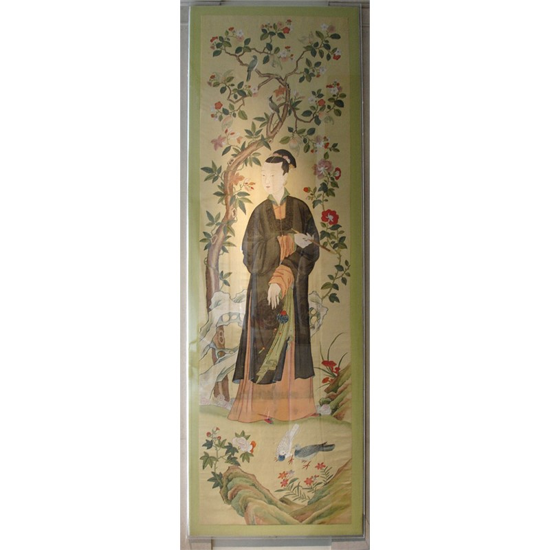 PAIR OF MASSIVE PAINTINGS OF LADIES ON YELLOW SILK, Chinese, Kangxi (1662-1722)