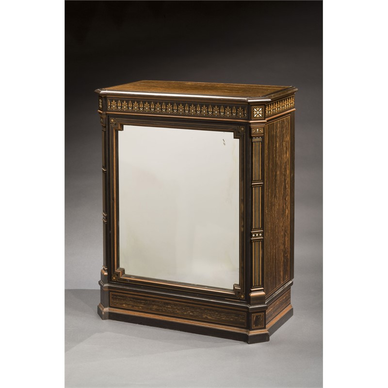 EBONY MIRRORED PIER CABINET, English, circa 1870-75