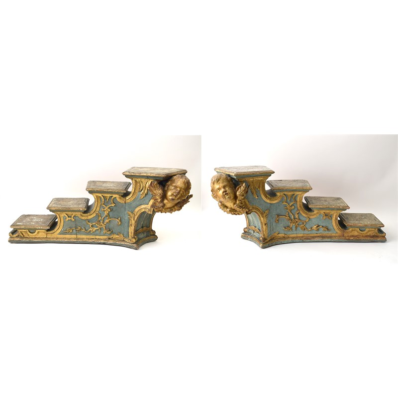 PAIR OF ITALIAN ROCOCO PAINTED AND PARCEL GILT STEPPED PEDESTAL , Venetian, 18th century