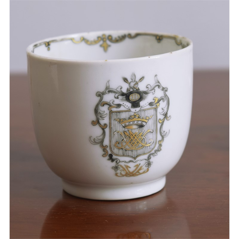 GRISAILLE ARMORIAL COFFEE CUP, 18th century