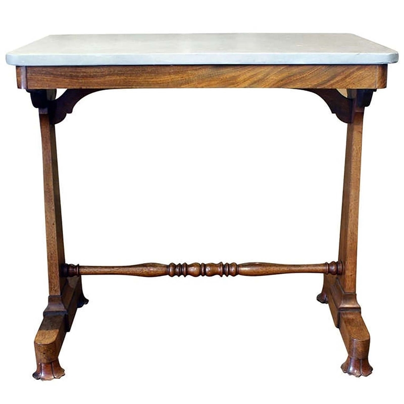REGENCY ROSEWOOD WRITING TABLE WITH LATER MARBLE TOP, English, 19th century