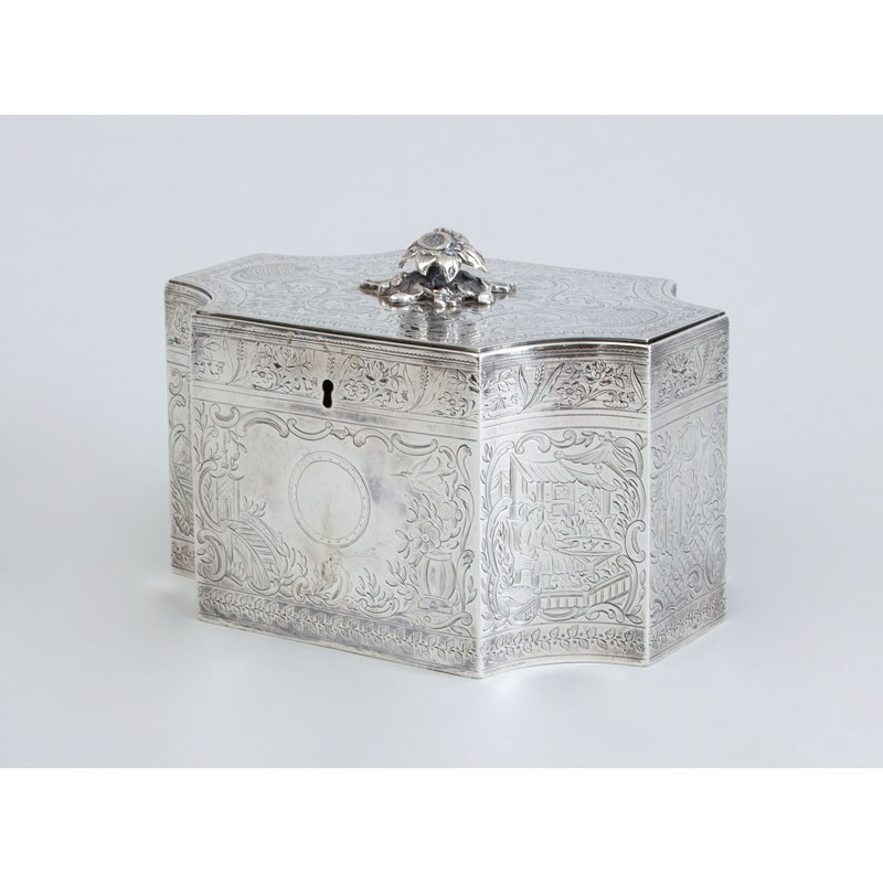 GEORGE III ENGRAVED SILVER TEA CADDY, English, 1801