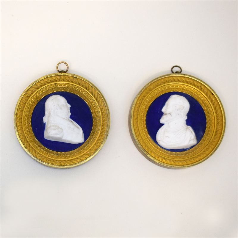 PAIR OF PORCELAIN BUST MEDALLIONS, French, 19th century