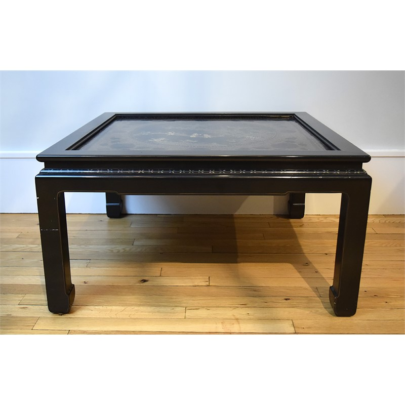 BLACK LACQUER AND  MOTHER OF PEARL INLAID LOW TABLE, Chinese, 18th century