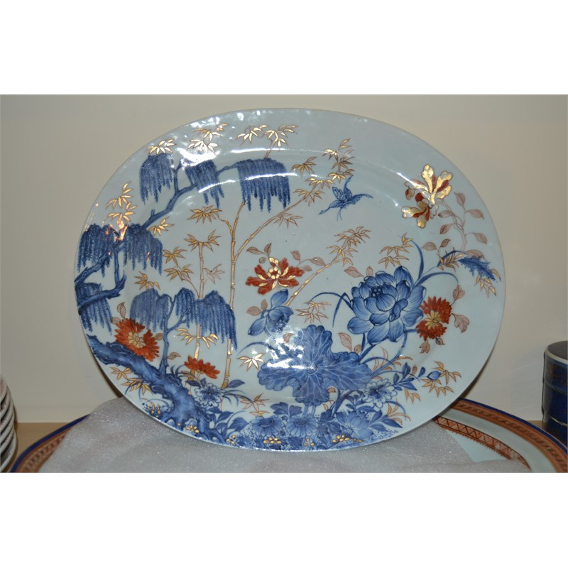 CHINESE IMARI OVAL PLATTER, Chinese, early 18th century