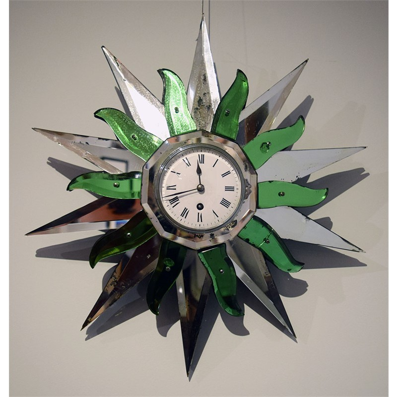 SUNBURST MIRROR CLOCK, French, 20th century