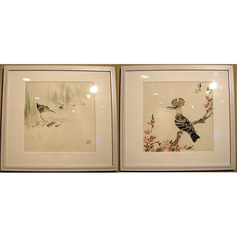PAIR OF JAPANESE BIRD WATERCOLORS, Japanese early 20th century