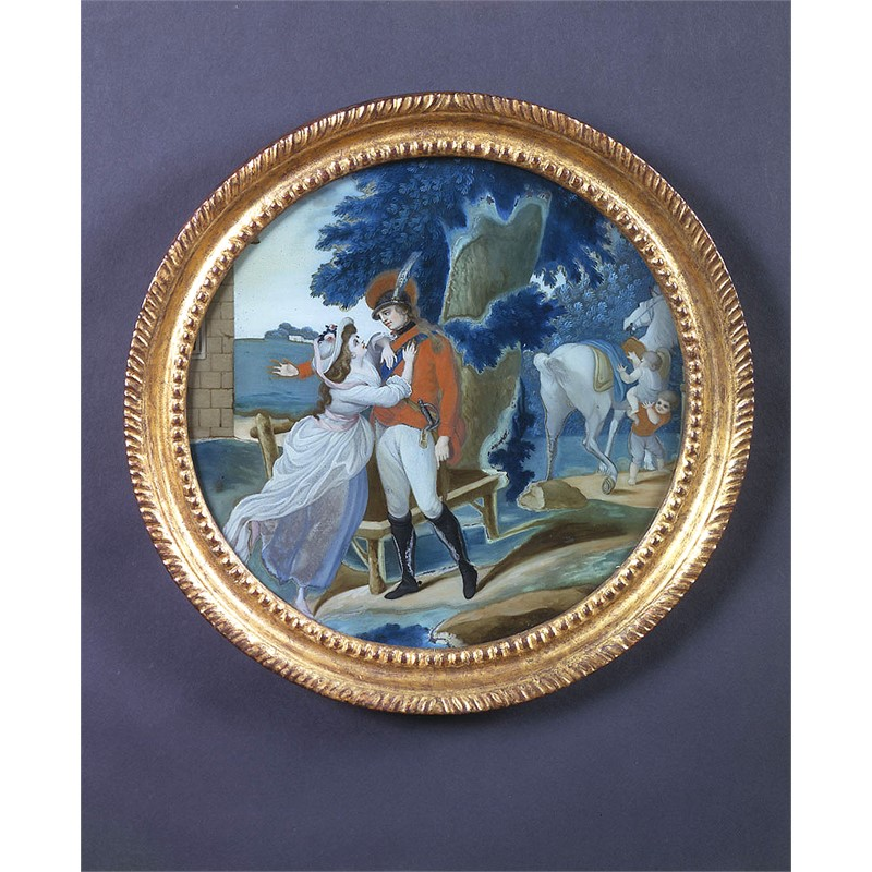 ROUND REVERSE PAINTING ON GLASS WITH LADY EMBRACING OFFICER, 18th century