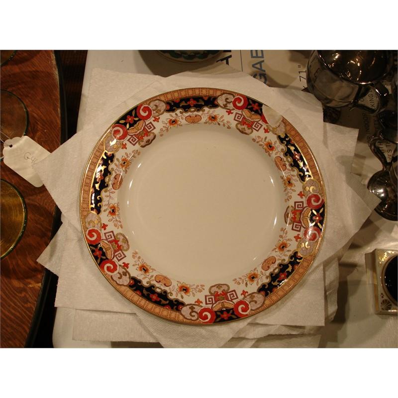 EIGHT ENGLISH IMARI RIMMED DINNER PLATES, English,19th century