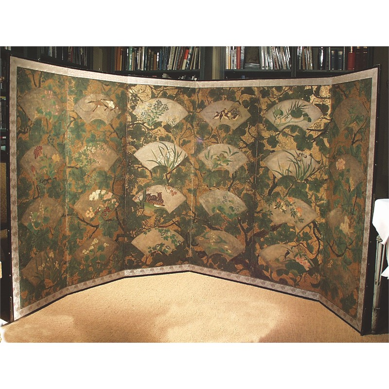 JAPANESE SCREEN WITH FANS AND FOLIAGE, Edo Period, circa 1800