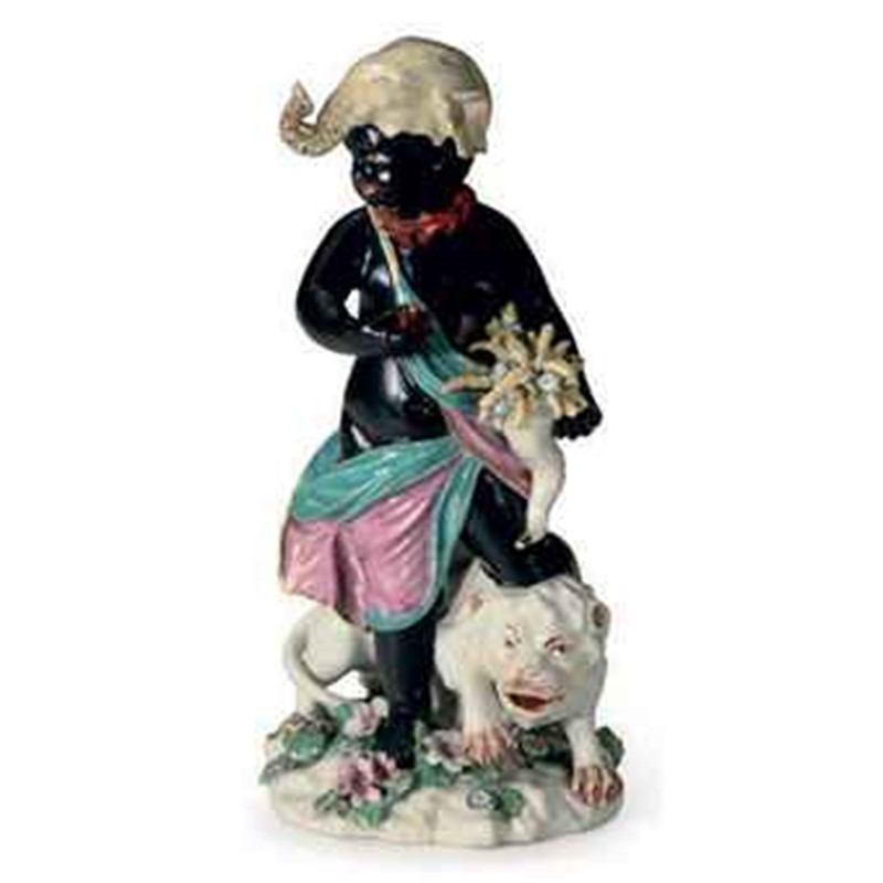 CHELSEA PORCELAIN FIGURE EMBLEMATIC OF AFRICA, English, 18th century