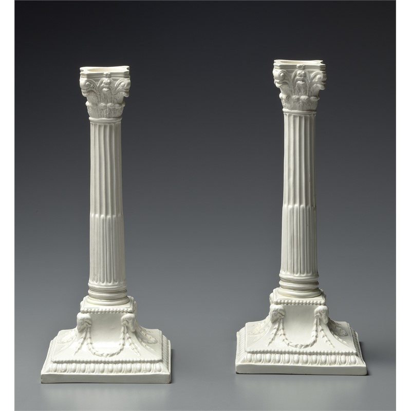 PAIR OF ENGLISH CREAMWARE CANDLESTICKS, English, 20th century