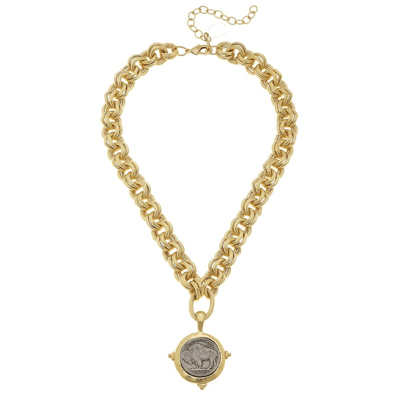 Gold Vermeil Chain with Vintage Buffalo Nickel