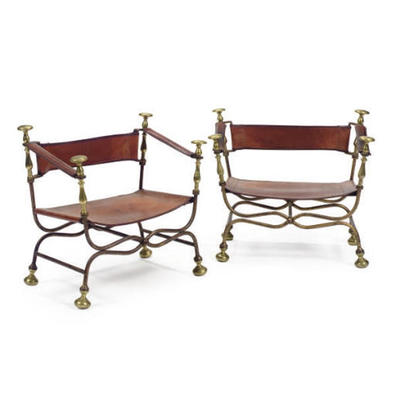 SET OF TWO GILT-IRON AND BRASS CURULE-FORM ARMCHAIRS, circa 1963