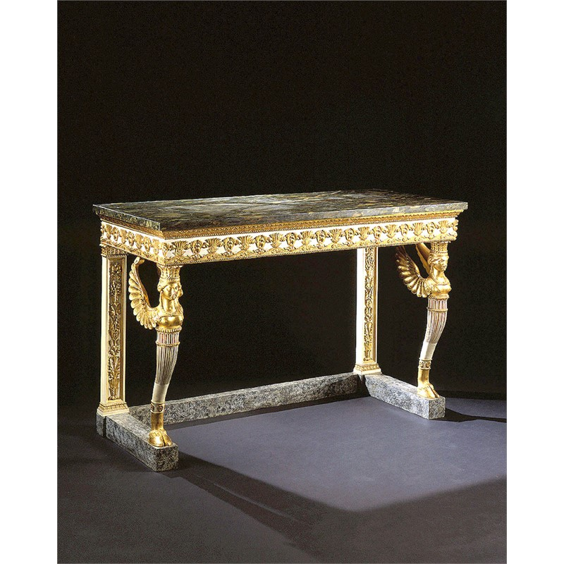 NORTHERN ITALIAN PARCEL GILT AND PAINTED CONSOLE TABLE WITH MARBLE TOP, Lombardy, circa 1800