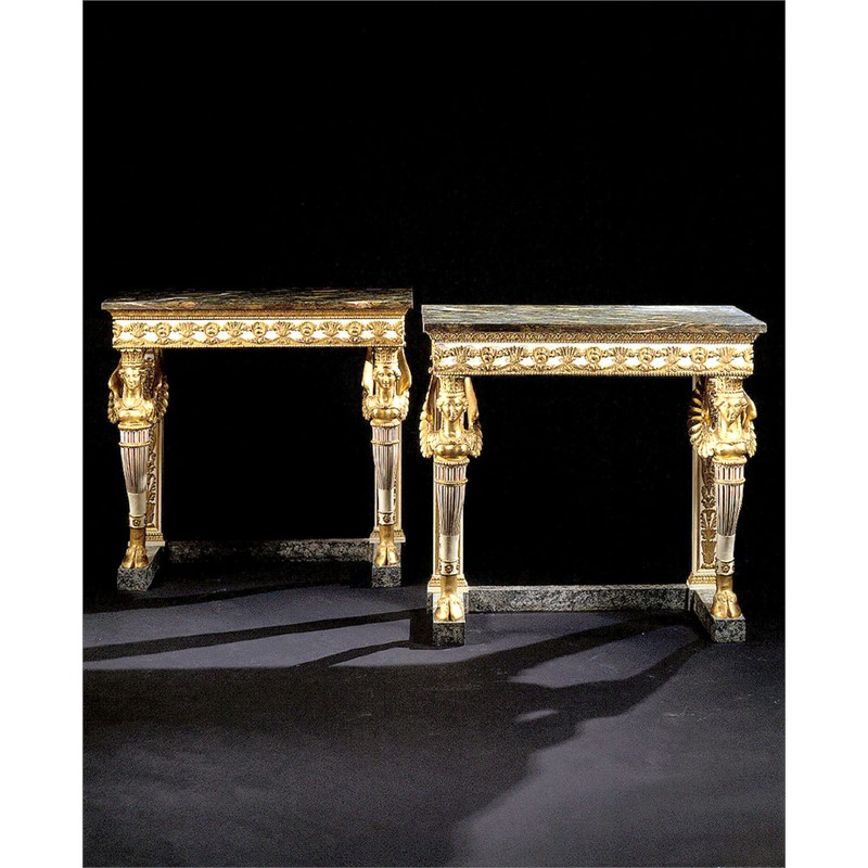 PAIR OF NORTHERN ITALIAN PARCEL GILT AND PAINTED CONSOLE TABLES WITH MARBLE TOPS, Lombardy, circa 1800