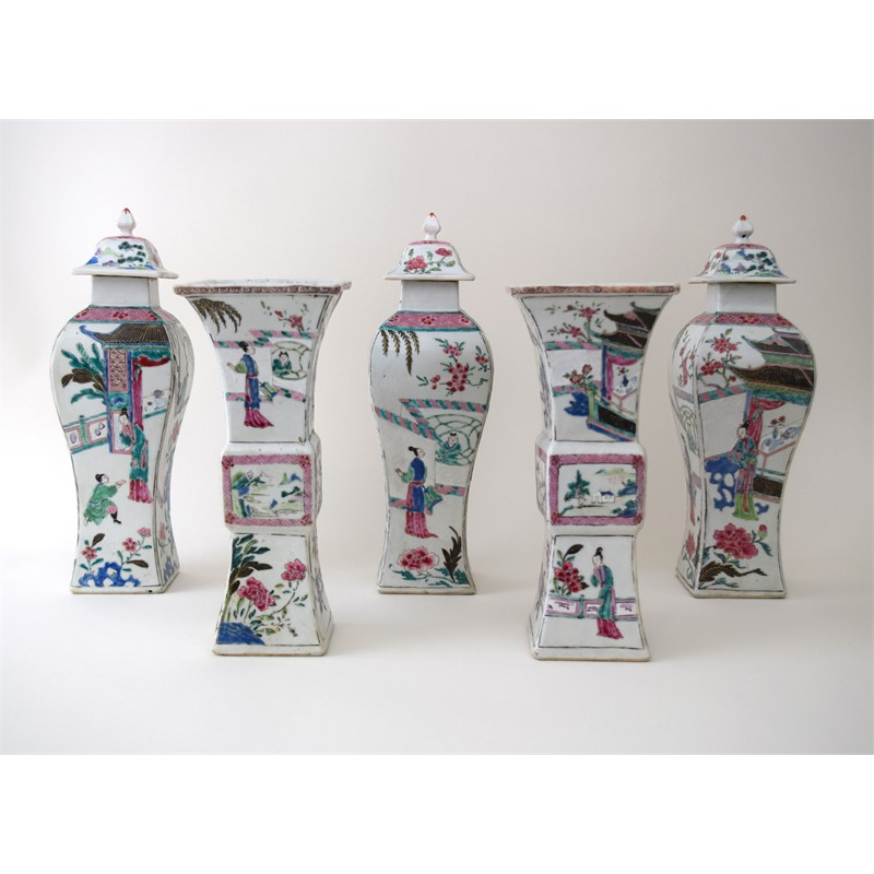 CHINESE FAMILLE ROSE FIVE-PIECE GARNITURE, Chinese, Qianglong Period (1736-1795)