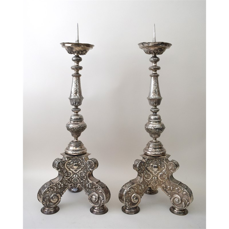 TWO HUNGARIAN STERLING SILVER CANDLESTICKS, Hungarian, circa 1720