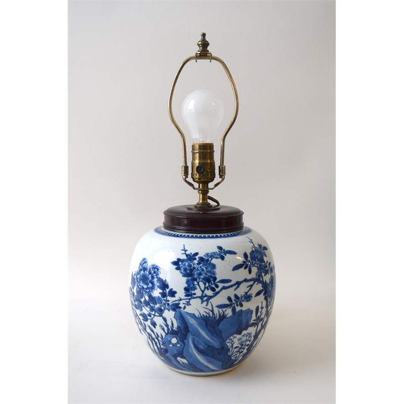 BLUE AND WHITE GINGER JAR WITH PEONY AND PRUNUS (mounted as a lamp), Kangxi Period (1662-1722)