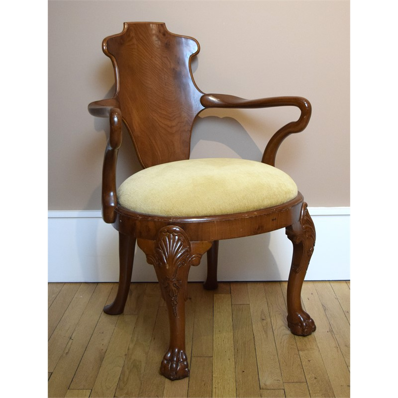 GEORGIAN STYLE WALNUT ARMCHAIR, English, 19th century