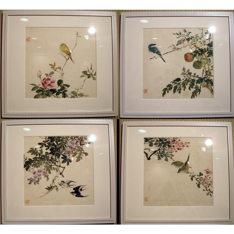 SET OF FOUR JAPANESE BIRD WATERCOLORS, Japanese, early 20th century