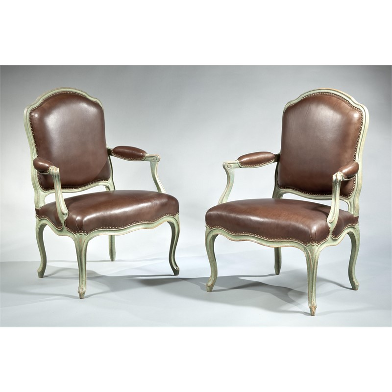 PAIR OF FAUTEUILS A LA REINE STAMPED FALCONET, French, circa 1750