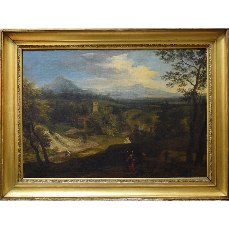 LANDSCAPE WITH CHRIST ON THE ROAD TO EMMAUS, Italian, 17th century