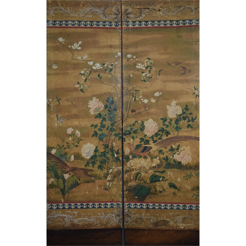 CHINESE TWO PANEL SCREEN WITH BIRDS, FLOWERS AND EUROPEAN MOTIFS, Chinese, 18th century