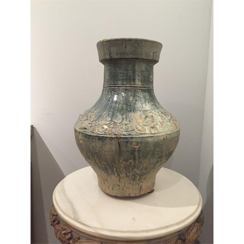 HU FORM GREEN-GLAZED POTTERY JAR, Han Dynasty (206BC-220DAD)