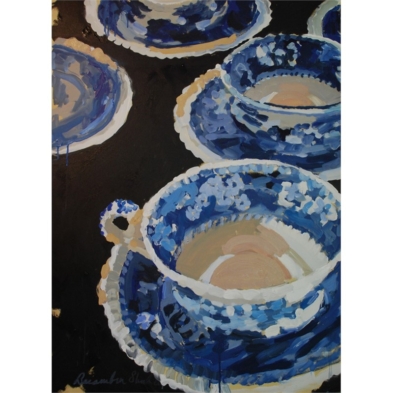 Blue Cups and Saucers