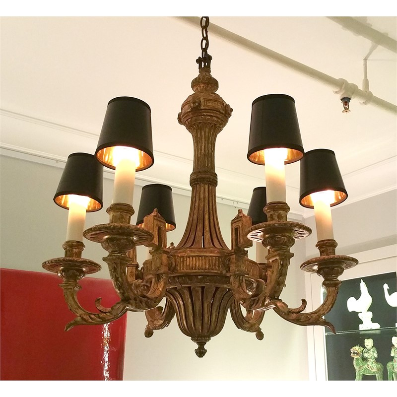 LOUIS XVI STYLE GILTWOOD SIX-LIGHT CHANDELIER, French, 19th century