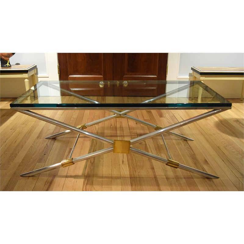 ALUMINUM AND BRASS COFFEE TABLE WITH GLASS TOP, American, 20th century