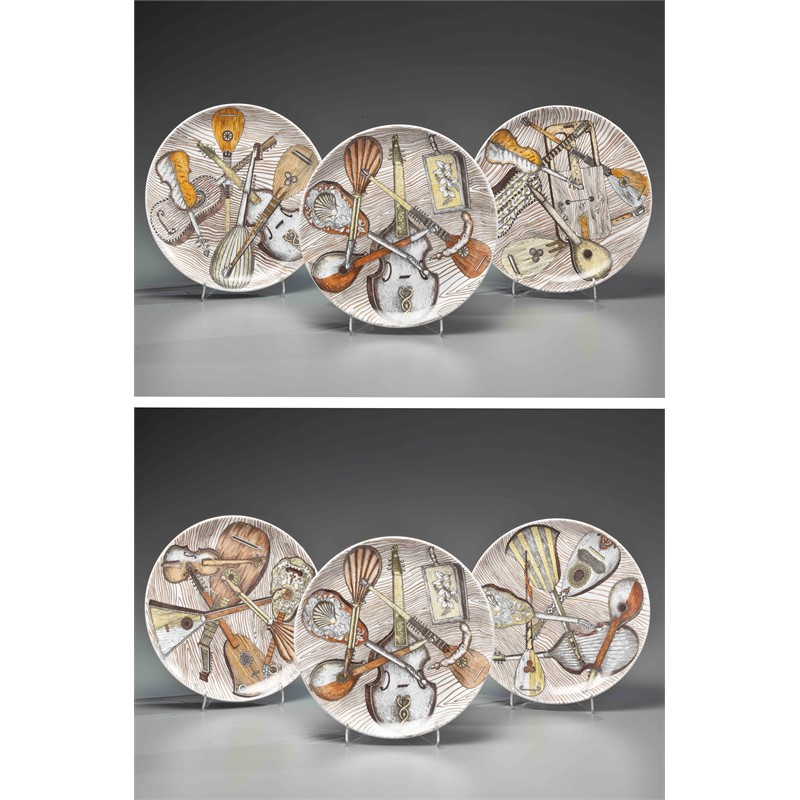 SET OF SIX FORNASETTI-DESIGN TRANSFER-PRINTED PLATES, Italian. 20th century