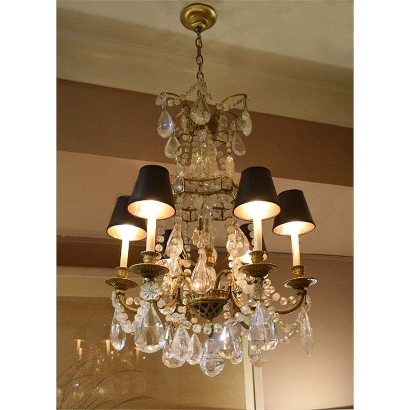 ROCK CRYSTAL AND GILT BRONZE CHANDELIER, French, 1900s