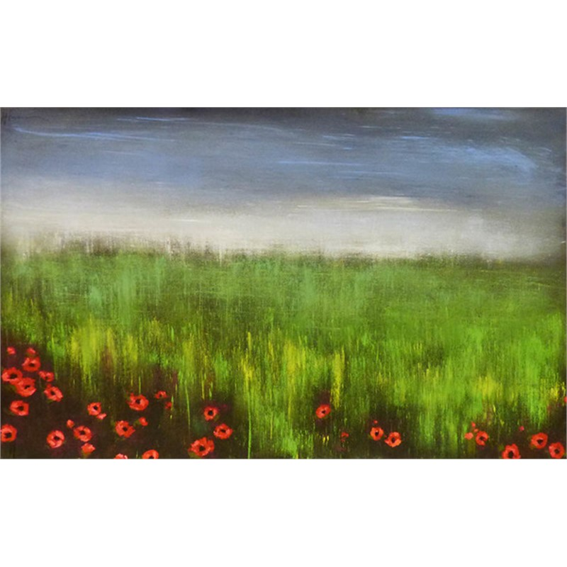 Soft Sky with Prairie Poppies