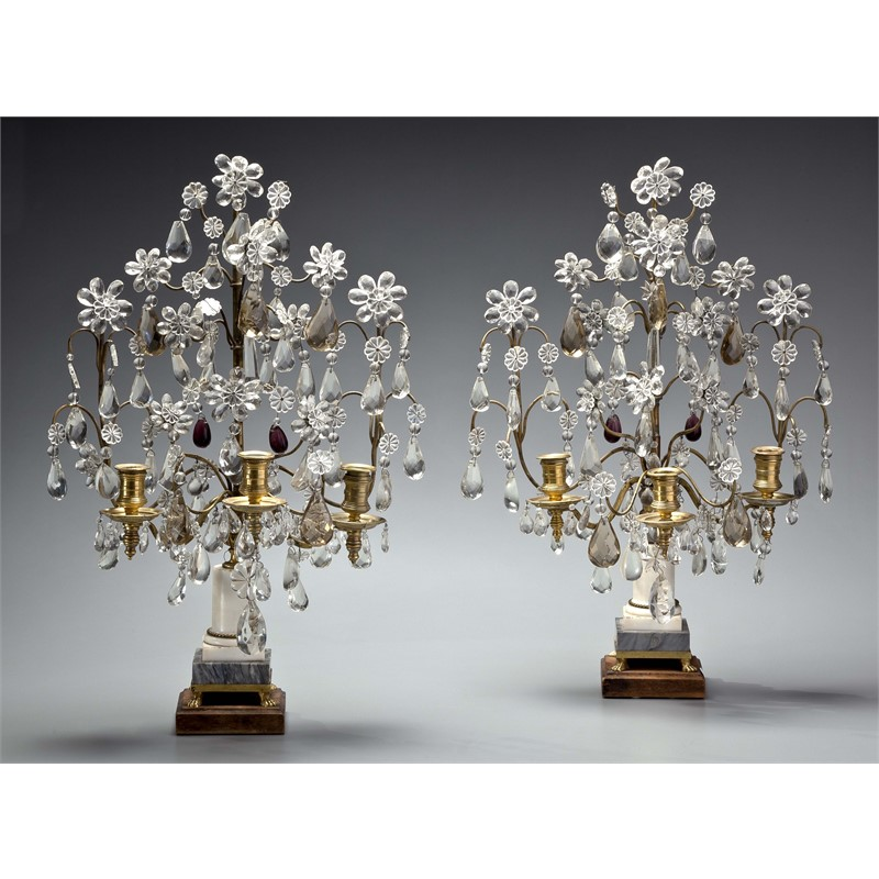 PAIR OF FRENCH GILT-METAL AND GLASS GIRANDOLES, French, early 20th century