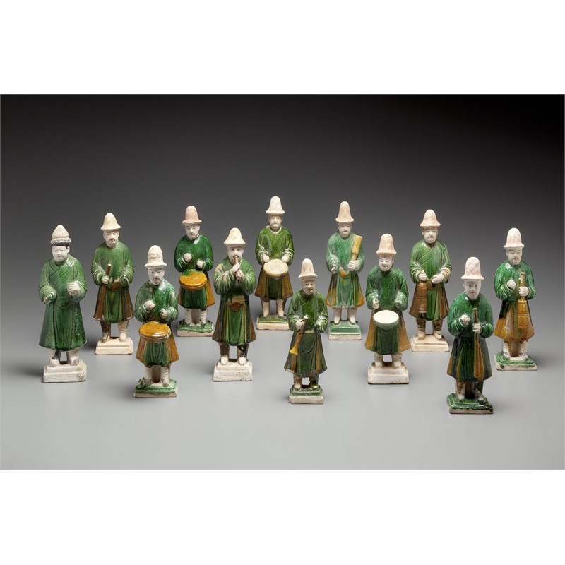 SET OF 12 GREEN-GLAZED POTTERY MUSICIANS, Ming Dynasty (1368-1644)