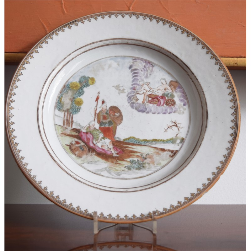 EXPORT PLATE WITH MYTHOLOGICAL SCENE OF VENUS IN HER CHARIOT SURROUNDED BY CLOUDS